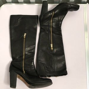 COACH Kaylie Pebble Leather High Heel Tall Boots